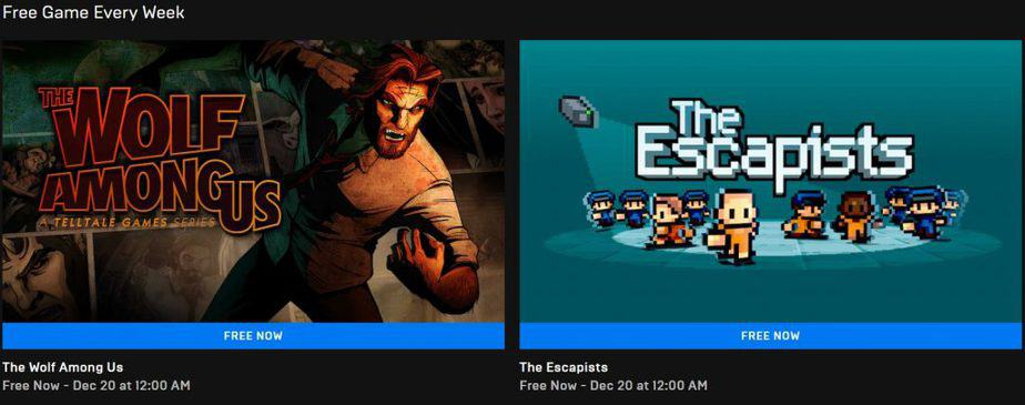 Games percuma The Wolf Among Us dan The Escapist dari epic games store